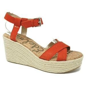 NWOT Sam Edelman Wedge Sandals Destin Orange